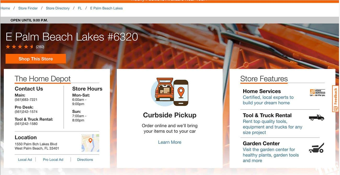 Home Depot have great location page example for multi location businesses