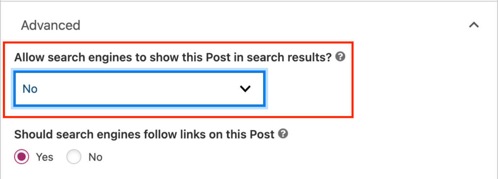Allow search engines to show this Post in search results? No