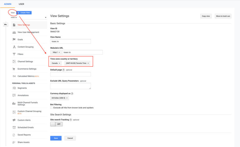 How to Change and View your Google Analytics Timezone