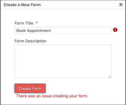 There was an issue creating your form. Gravity Forms